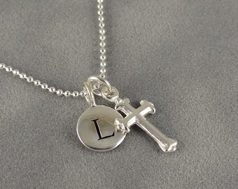 Sterling Cross, Initial Charm Necklace - Personalized - Faith - Protection - Spiritual - First Communion - Gift Idea