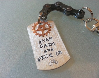 Bicycle Gear Hand Stamped Personalized Military Dog Tag Key Chain - KETEXT07
