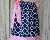 Navy Quatrefoil and Pink Polka Dot  Pillowcase dress