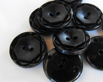 15 Black Geometric Flower Small Round Buttons Size 11/16""