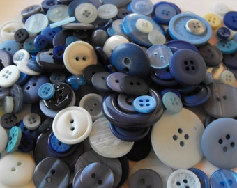 Blue Sky Buttons, 100 Bulk Assorted Round Multi Size Crafting Sewing Buttons
