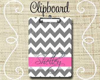 Personalized Clipboard, Monogram Clipboard, Teacher Clipboard, Nurse Clipboard 6x9 or 9x12.5 Chevron Gray Hot Pink or ANY color(s)
