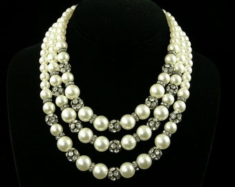 Pearl and Rhinestone Rondell Choker (No. 699)