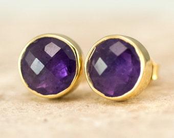 Purple Amethyst Stud Earrings - February Birthstone Studs - Gemstone Studs - Round Studs - Gold Stud Earrings - Post Earrings