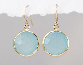 Aqua Blue Chalcedony Earrings - Seafoam Green Earrings - Round Gemstone Earrings - Gold Earrings - Drop Earrings