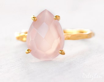 Pink Chalcedony Ring - Rose Stone Ring - Solitaire Ring - Stacking Ring - Gold Ring - Tear Drop Ring - Prong Set Ring