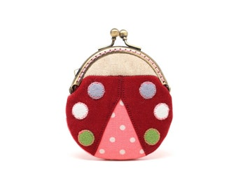 Magical maroon beetle mini coin purse
