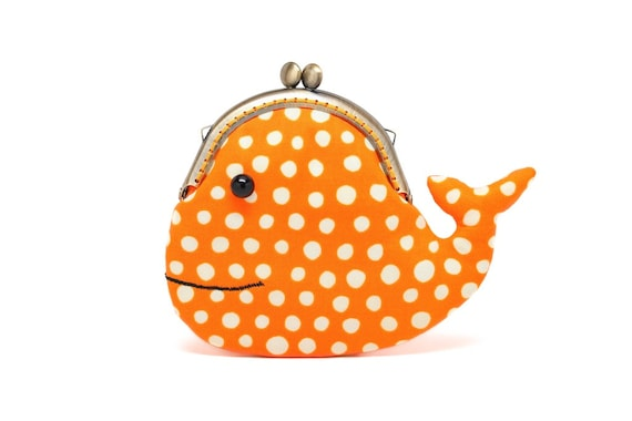 Cute sunset orange whale clutch purse