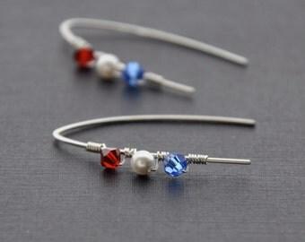 American Flag Earrings, USA Patriotic Earrings, Red White Blue 4th of July Earrings, July Fourth Earrings, July Fourth Jewelry