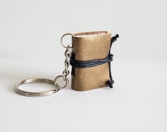 Book keychain, metallic leather keychain, miniature book charm, book lover, literature jewelry journal, key accessory, men women keychain