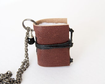 Miniature book necklace mini book jewelry, eco friendly leather book pendant, blank book lover, literature jewelry, leather journal - brown