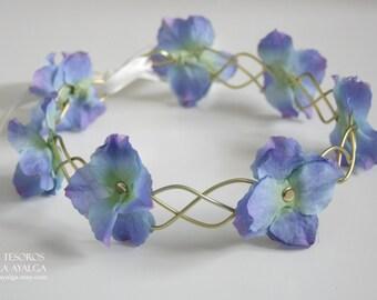 blue floral crown - floral headpiece - wedding circlet