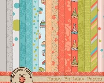 Happy Birthday Digital Scrapbook Paper Pink, Blue, Green, Gray INSTANT DOWNLOAD!