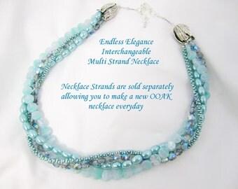 Shop Closing Sale, Galvenized Caribbean Blue Farfalle Interchangeable Multi Strand Necklace metallic, seafoam, texture, rope look, strand