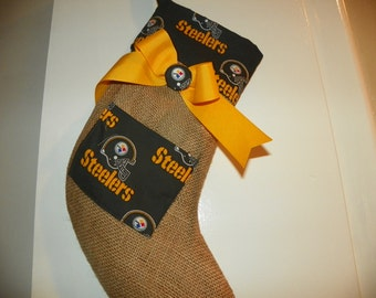Pittsburgh Steelers  Christmas Stocking with a Bow with a Pocket for a Small Gift