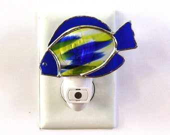 Blue and Yellow Fish Stained Glass Light Sensor Night Light