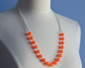 Orange Necklace Silver Plated Long Dramatic Bright Bold Cheerful Vintage Beads