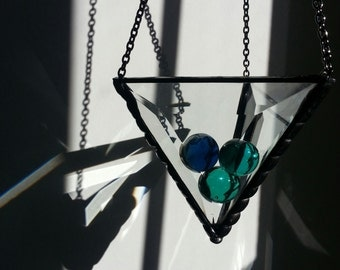 Stained Glass Bevel Triangle Plant Holder
