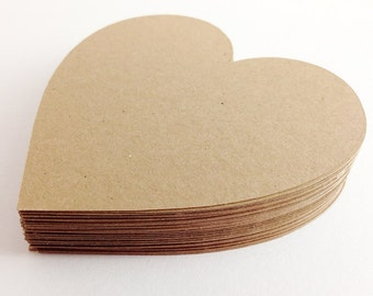 50 Kraft Die Cut Hearts, Rustic Wedding - 3 inches