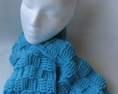 Turquoise Keyhole Scarf in a Basket Weave