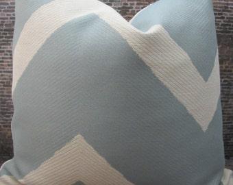 Designer Pillow Cover - 16 x 16,18 x 18, 20 x 20, 22 x22 - Chevron Waylon Light Blue