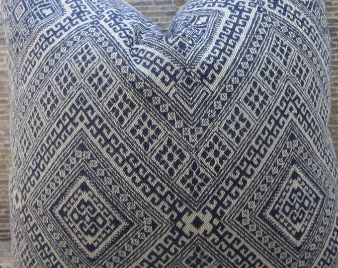 3BM Designer Pillow Cover Lumbar, 16 x 16, 18 x 18, 20 x 20, 22 x 22 - Nate Berkus Prussian Embroidered Navy