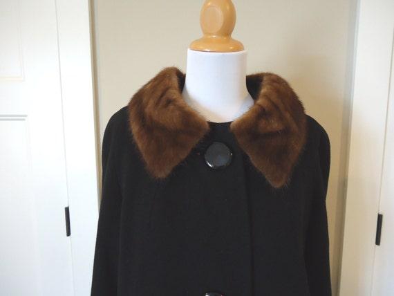 Carol Brent Cashmere coat // vintage 50s coat // black