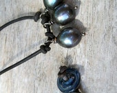 Tahitian Black Cultured Black Pearl Necklace on Rustic Black Leather Handmade Glass Bead Clasp