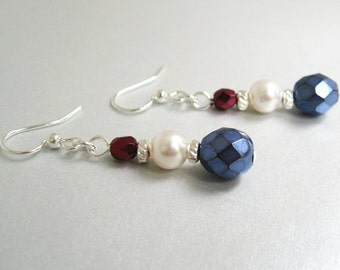 July 4th Earrings, Red, White and Blue Bead Earrings, Beaded Dangle Earrings, Patriotic Jewelry, Independence Day, Fourth of July, Summer