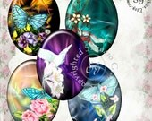Fractal Gardens Art - Digital Collage Sheet sg545 - 30x40mm Ovals for Jewelry Supplies, Pendants, Cabochons, Craft Projects