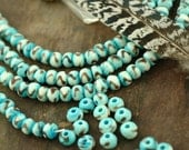 Aqua<< : Turquoise Round Bone Beads, 6x8mm, 39+ beads, Stained Indian Cow Bone Beads, Craft, Jewelry Making Supplies