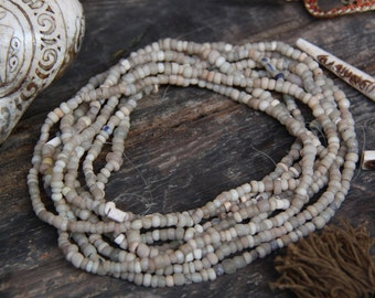 Beach Treasure: Djenne Beads from Mali / Roman Glass Beads /Sand-Colored, Antique Strand, 4x3mm /Nautical Beads, Supplies for Jewelry Making