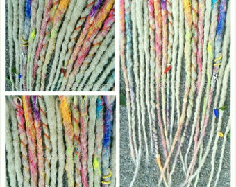 10 crocheted  and wrapped dreads  custom made to order* You pick the colors with  wooden beads