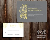 Printable Gray and Yellow Wedding Invitation, Yellow Flower Wedding Invitation, DIY Printable, Script, Digital Invitation