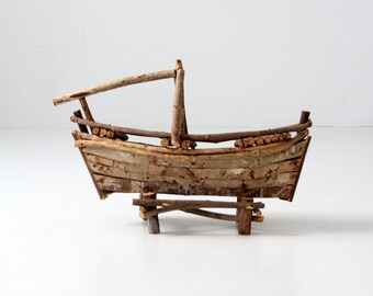 folk art boat, vintage wood boat sculpture