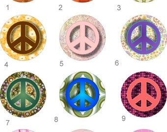 Peace Sign Pocket Mirror 2 1/4 inch choice of designs