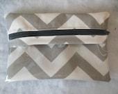 Chevron Peek a boo zipper pouch-Gray and white