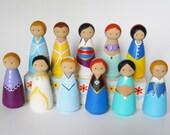 Jumbo Princess Peg Dolls, Disney Princess Peg Dolls, Party favors, Cake toppers, stocking stuffers