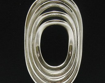PE000434 Sterling silver pendant   925 solid Geometric ellipse