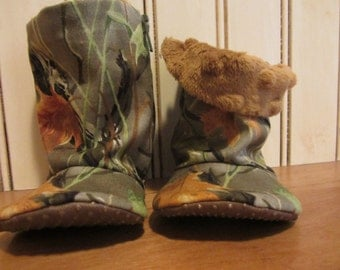 SALE** Camouflage baby soft boots- minky inside - non slip sole, fall, winter