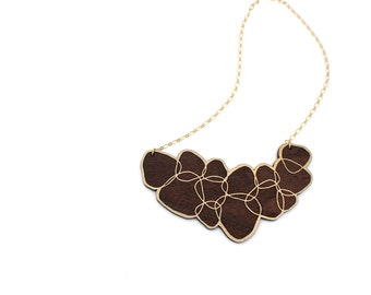 SALE The Stella Necklace - Laser Cut Wooden Metallic Gold and Dark Wood Necklace