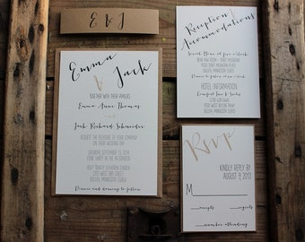 Wedding Invitation // Rustic Calligraphy Style // Neutral & Modern // Outdoor or Country Wedding // You Choose the # Needed