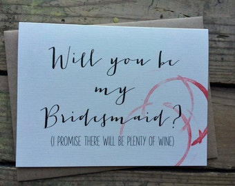Will you be my Bridesmaid, Matron/Maid of Honor, Wedding Party Card, with Envelopes // Wine Theme //  Set of 10