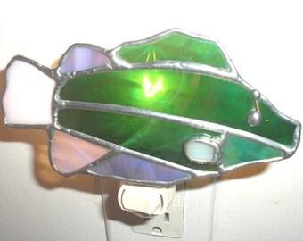 LT Stained glass green kissing Fish night light lamp green iridescent white iridescent, gray iridescent glass