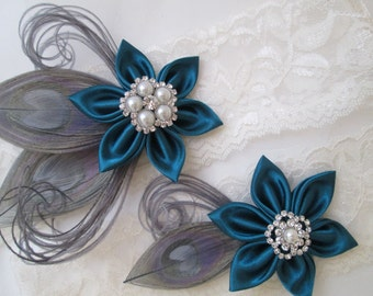 TEAL WEDDING Garter Set, PEACOCK Garters, Silver Bridal Garters, Ivory Lace Rustic Garters, Oasis Teal Garter