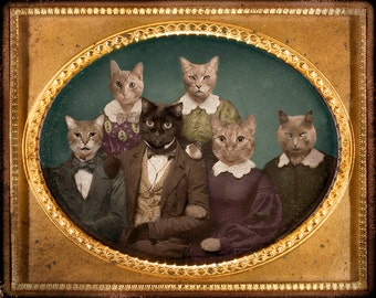 Cats, vintage photograph, mixed media collage, paper collage, Funny, Silly, Altered Art, Sepia, Brown, Gold,8x10