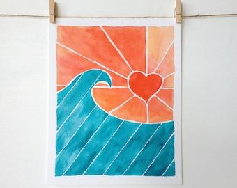 Surf Decor - Beach Decor - Ocean Art - Surf Art Print - Wave Art - Beach Art Print - Beach House Decor - Surfer Girl - Colorful Surf Art