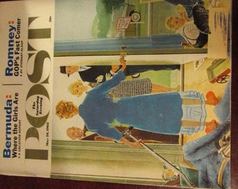 Collectible Saturday Evening Post Magazine May 26, 1962 Housewife Welcomes Realtor for Open House Cover Very Good Condition Great Ads