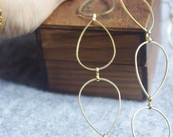 new design sale-one meter-3.3 feet fantastic teardrop loop chain -rhodium plating over brass chain-F1075