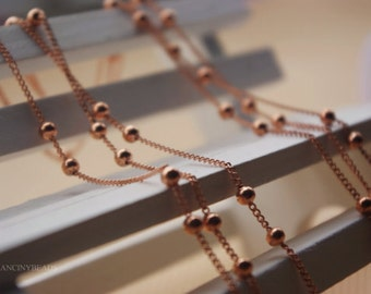 Rustic copper chain-10 feet fabulous red copper ball chains-F1152